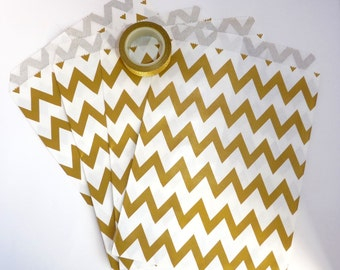 Pack of 12 gold and white chevrons favor bags, birthday party, candy bar, wedding, gift, scrapbooking