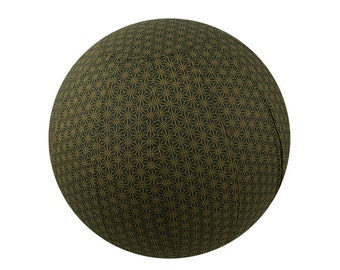 75cm Yoga Ball Cover - Olive Geometric Print