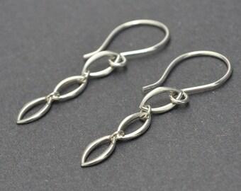 Dangle Earrings, Sterling Silver Earrings, Marquise earrings, Everyday Silver Earrings