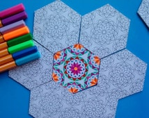 SALE 25% OFF Coloring Mandala Game for Kids, Artistic Activity for Children ,Holiday Coloring Sheets, Girls Party Unique Activity, Wedding K