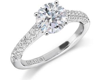 Moissanite & Diamond Engagement Ring 18kt White Gold 1.0ct Round Forever One Center .40ct EFVS2 Natural Diamond Wedding