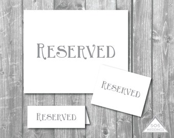 Printable Reserved Signs, Reserved Seating Signs, Wedding Signs, Printable Wedding SIgns, Simply Gray, Instant Download, Digital File