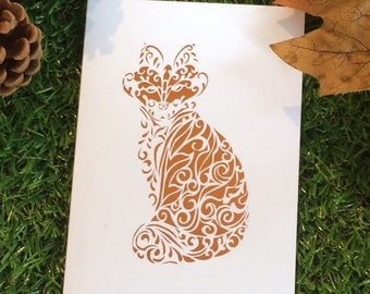 Fox metallic foil print greetings card,  any occassion, blank greetings card