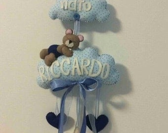 """Stitchable """"speech bubble with little bear"""""""