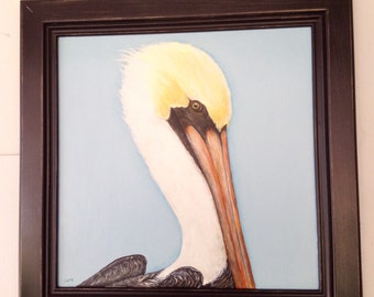 Pelican painting on cabinet door