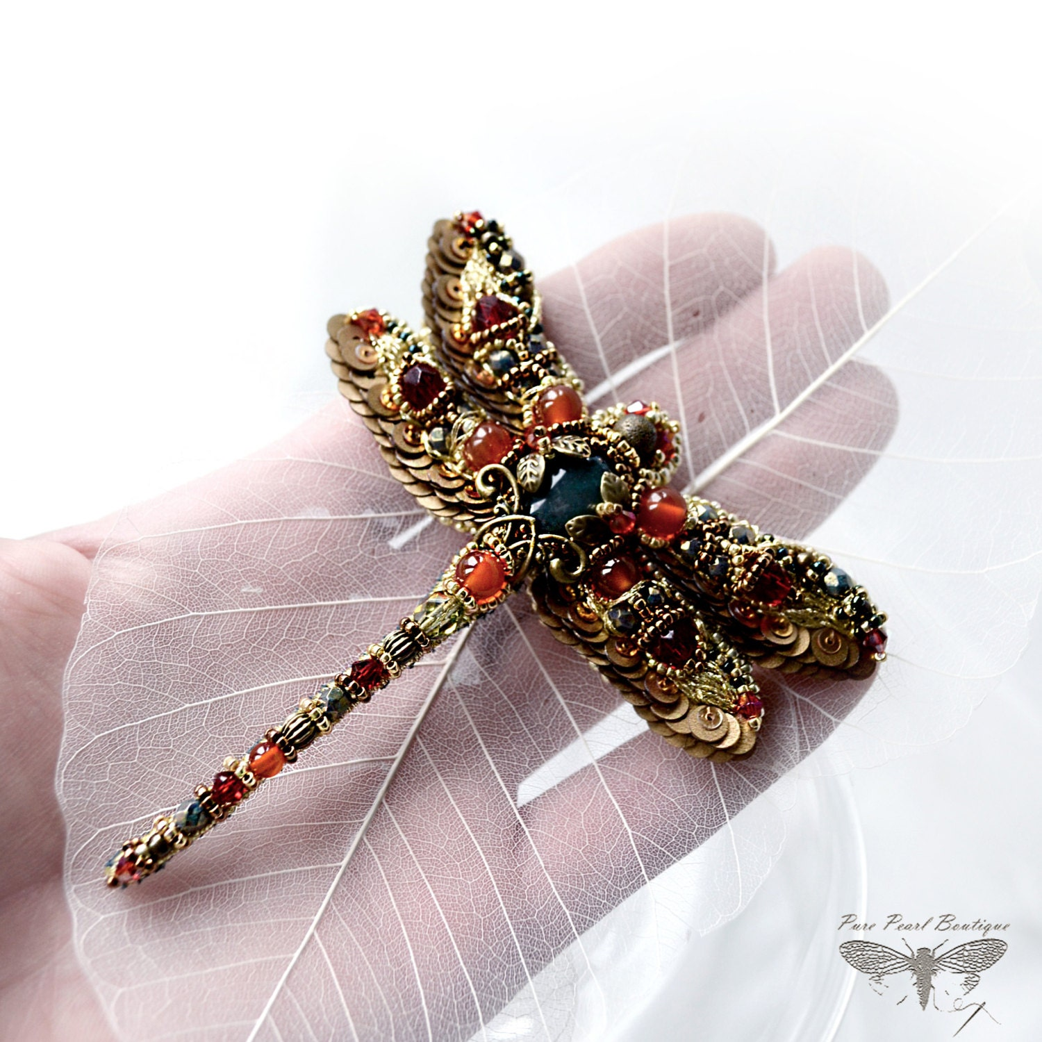Dragonfly Jewelry Dragonfly Brooch Nature By Purepearlboutique