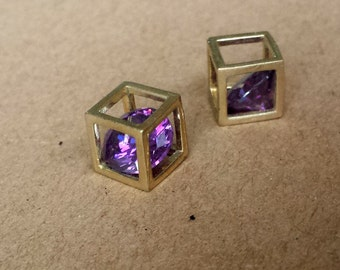 2pcs 7x7mm Antique bronze Cube with zircon charm, Necklace, earing, Bracelets  Pendant