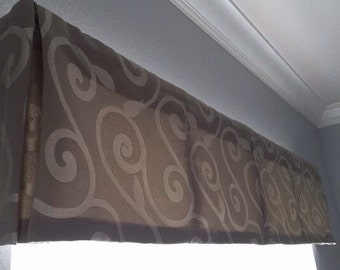 "Custom Valance w/ Box Pleats - LINED - choose your own fabric and size - 84"" W x 18"" L"