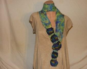 Wool Felted Scarf - Green & Blue