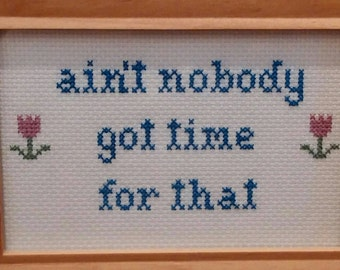 Ain't Nobody Got Time For That Cross Stitch Framed!  Decorate your place with very inappropriate fun!