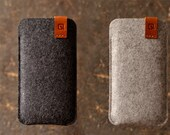 Samsung Galaxy S3/ S4/ S5/ S6 case Samsung sleeve wallet cover dark grey/ light grey merino wool felt full grain tan leather