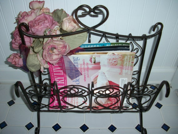 Items Similar To SALE! Magazine Rack Black Wrought Iron