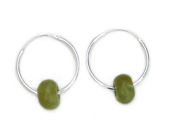Green Jasper necklace hoops. Sterling silver.