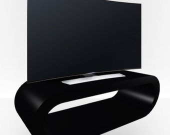 Black Gloss TV Stand - Large Hoop