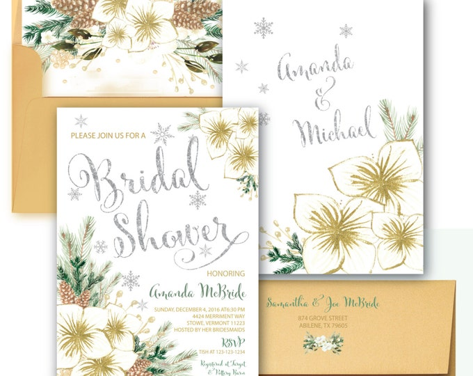 Winter Bridal Shower Invitation // Holiday Bridal Shower // Snowflakes // Floral // Holiday // Silver // Gold // VERMONT COLLECTION