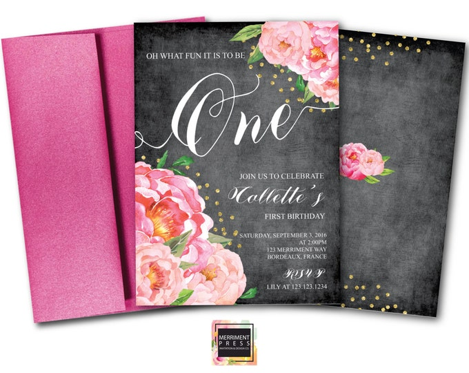 First Birthday Invitation // One // Chalkboard // Peonies // Peony // Birthday Invitation // Pink // Gold Glitter // BORDEAUX COLLECTION