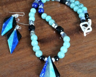 Lapis, aventurine, and labradorite necklace and earrings set