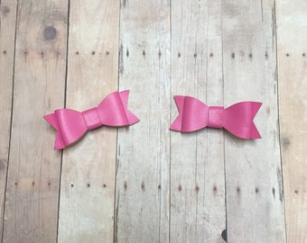 Bow Hair Clips,Bow Clips,Princess Clips,Baby Clips,Girls Clips,Pink Bow Clips,First Birthday,1st Birthday,Faux Leather Bow Clips,Leather Bow