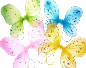 Organza Nylon Butterfly Wings with Glitter, 12-Inch