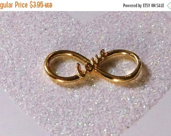 "10% off One (1) BALI 24K Gold Vermeil 22x9.5mm 16 Gauge ""love"" Infinity Link Components #003-V"