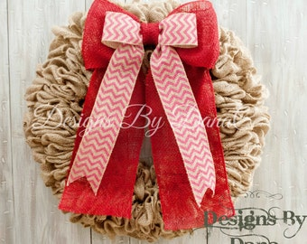 Valentine Day Wreath For Front Door, Valentines Burlap Wreath, Valentines Wreath, Love Day Wreath, Valentines Day Door Decor in 19 or 22""