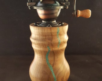 Handcrafted Pepper mill/grinder with Turquoise inlay