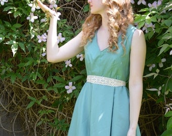 Casual Handmade Cotton and Chiffon Turquoise Dress with Lace Ribbon Belt
