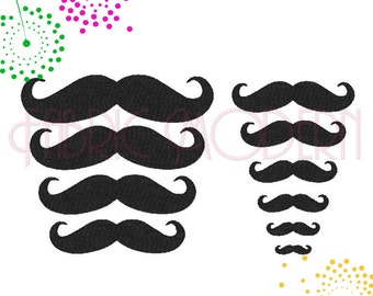 Machine Embroidery Design, mustache collection, 10 sizes, #150