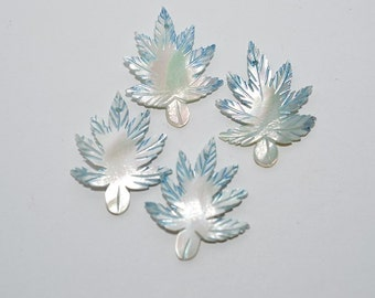 Vintage Blue Mother Of Pearl Hand Carved Leaves. Lot of 10 (1061643)