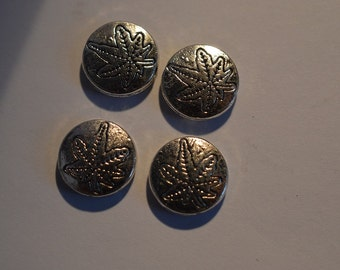 4 - Tibetan Silver Round Beads with Leaf Etched in center  (3026051)