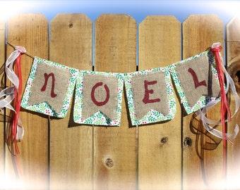 Burlap Banner, NOEL, Christmas, Holiday, Garland, Flags, Winter, Home Decor