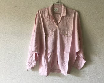 FREE SHIPPING - Vintage 80s Blouse Front Pockets Button Top