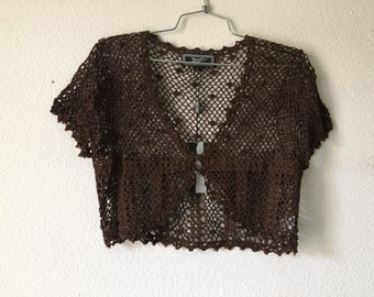 FREE SHIPPING - Vintage Crochet Top Blouse