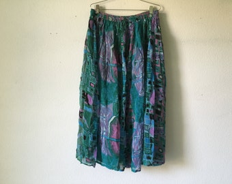 Vintage 80s Drawstring Maxi Skirt Hippie Bohemian Skirt