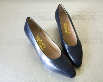 Vintage Shoes - Salvatore Ferragamo Italian Pumps Navy Size 8B
