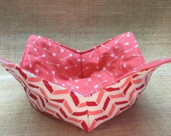 Microwaveable bowl cozie-pink arrows-size medium