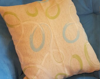 Blue and Green Ribbons on Cream Decorative Pillow