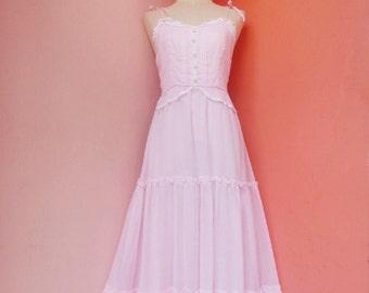 Vintage 70's Pink Cotton Prairie Maxi Dress