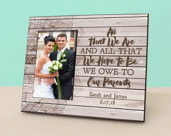 Parent Wedding Gift - Personalized Picture Frame - Rustic Wood Photo Frame Personalized - In Law Gift - Parents Thank You Gift -PF1320