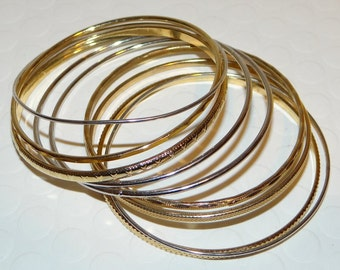 Bangle Bracelets Set of 8, 3 Silver tone and 5 textured gold tone