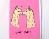 Cute Valentines Day Card - cute animals - llamas - greeting card