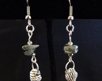 Dakota Stone and Zebra Shell Earrings