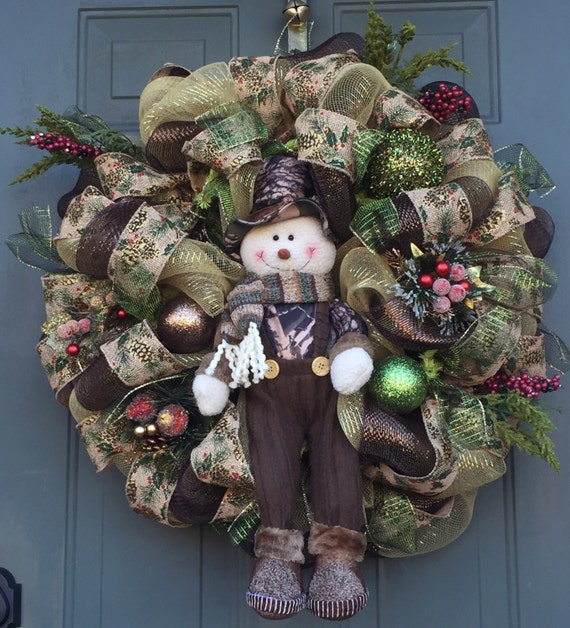 Camo Snowman Christmas Wreath