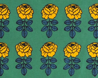 "Marimekko Vihkiruusu half yard, 18x56"", 46cm x 140cm, cotton piece, Maija Isola, green yellow, Finland"