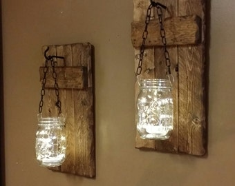 Rustic Candle holders ,lanterns, Rustic  Decor, hanging  jars With Lights, sconces,  Wall Decor,  Firefly lights, Rustic sconces set of 2.