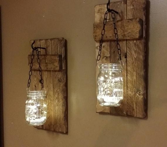 Rustic Candle Holders Hanging Mason Jars Set Of Sconces