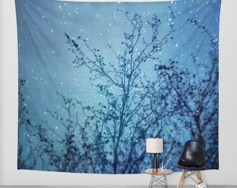 SALE wall tapestry, oversized wall art, forest tapestry, tree tapestry, bohemian wall tapestry, nature tapestry, stars tapestry, blue decor