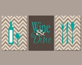 Kitchen -  Wall Decor - Chevron - Gift for Friend - Gift for Mom - New Home - Wine & Dine - Available in Any Color Set of Three