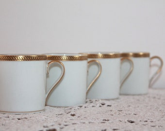 Set of 4,  Limoges China, Demitasse,Small Espresso Cups,Limoges Porcelain,Tea Party Cups,China Cups, Shabby Chic China, Gold Teacup