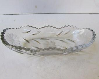 Vintage Cut Glass Dish -  Cut Crystal Dish - Narrow Dish - Floral Motif -